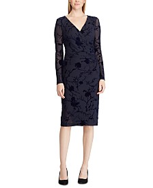 Lauren Ralph Lauren Torelana Velvet Surplice Dress