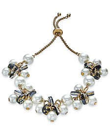 INC Gold-Tone Imitation Pearl & Resin Disc Slider Bracelet, Created For Macy's