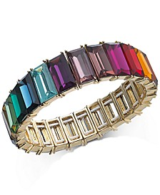 INC Gold-Tone Multicolor Baguette-Stone Stretch Bracelet, Created For Macy's
