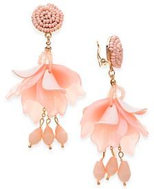 INC Gold-Tone Bead & Resin Petal Drop Clip-On Earrings, Created For Macy's