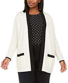 Plus Size Colorblocked Open-Front Cardigan