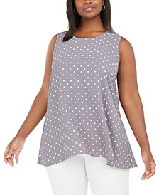 Plus Size Polka Dot Sleeveless Blouse