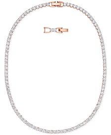 "Swarovski Rose Gold-Tone Crystal Collar Necklace, 14-7/8"" + 1"" extender"