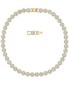 "Swarovski Gold-Tone Crystal Collar Necklace, 14-7/8"" + 1"" extender"