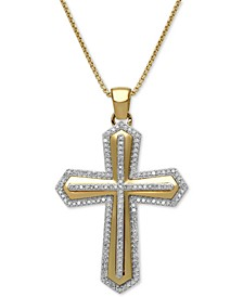 "Men's Diamond Cross 22"" Pendant Necklace (1/2 ct. t.w.) in 18k Gold-Plated Sterling Silver"