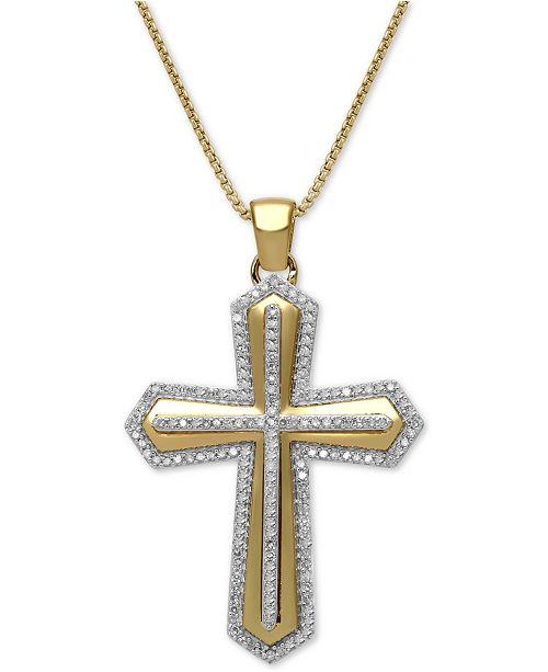 "Macy's Men's Diamond Cross 22"" Pendant Necklace (1/2 ct. t.w.) in 18k Gold-Plated Sterling Silver"