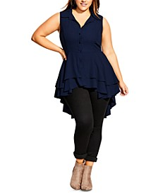 Trendy Plus Size Ruffled High-Low Shirt