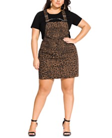 City Chic Trendy Plus Size Animal-Print Pinafore Dress