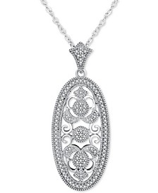 "Diamond Ornate Filigree Oval 18"" Pendant Necklace (1/5 ct. t.w.) in Sterling Silver"