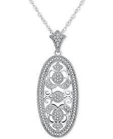 "Diamond Ornate Filigree Oval 18"" Pendant Necklace (1/5 ct. t.w.) in Sterling Silver"