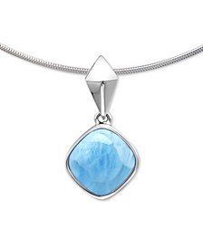 "Larimar (12mm) 21"" Adjustable Pendant Necklace in Sterling Silver"