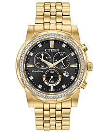 Eco-Drive Men's Chronograph Corso Gold-Tone Stainless Steel Bracelet Watch 42mm