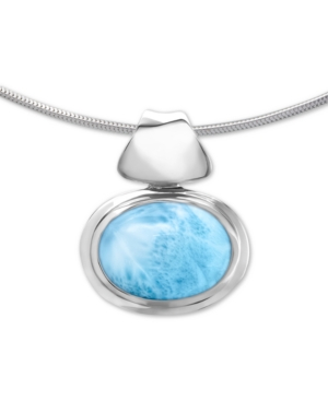 "Larimar (12mm) 21"" Adjustable Pendant Necklace in Sterling Silver"