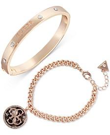 Rose Gold-Tone 2-Pc. Set Crystal & Tortoise-Look Bracelets