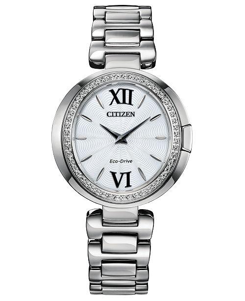 Citizen Eco-Drive Women's Capella Stainless Steel Bracelet Watch 34mm