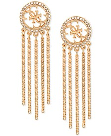 Gold-Tone Fringe Crystal Hoop Earrings