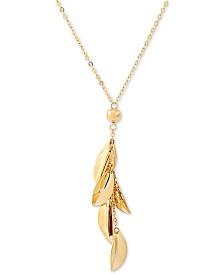 """Leaf Dangle 17"""" Lariat Necklace in 14k Gold"""