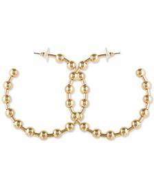 "Medium Gold-Tone Ball Station Hoop Earrings 1-1/2"""