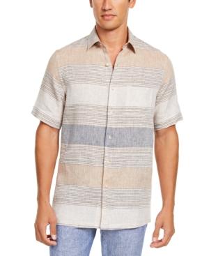 Tasso Elba Men's Cannela Linen Striped Shirt