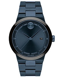 Movado Men's Swiss Bold Blue Ion-Plated Stainless Steel Bracelet Watch 34mm