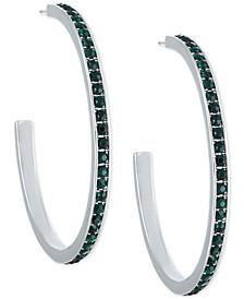 """Medium Silver-Tone Green Pavé Hoop Earrings 1-3/4"""""""