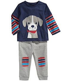 Toddler Boys Puppy T-Shirt & Jogger Pants, Created For Macy's