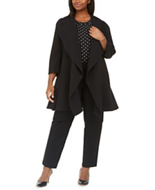 Anne Klein Plus Size Open-Front Ruffle Jacket
