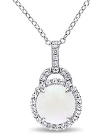 "Opal (1-3/4 ct. t.w.) and White Topaz (2/5 ct. t.w.) Halo Charm 18"" Necklace in Sterling Silver"