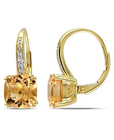Cushion Cut Citrine (4-1/6 ct. t.w) and Diamond Accent Drop Earrings in 10k Yellow Gold