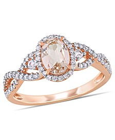 Morganite (3/4 ct. t.w.) White Sapphire (1/20 ct. t.w.) and Diamond (1/3 ct. t.w.) 3-Stone Infinity Ring in 10k Rose Gold