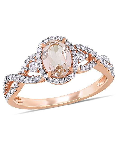 Macy's Morganite (3/4 ct. t.w.) White Sapphire (1/20 ct. t.w.) and Diamond (1/3 ct. t.w.) 3-Stone Infinity Ring in 10k Rose Gold