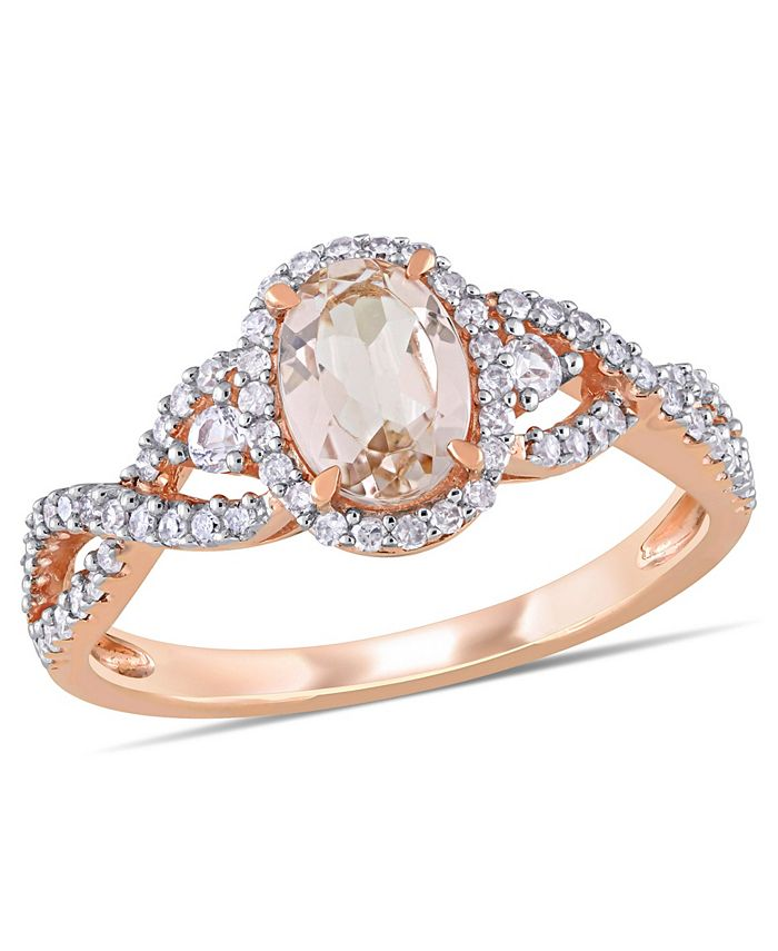 Macy's - Morganite (3/4 ct. t.w.) White Sapphire (1/20 ct. t.w.) and Diamond (1/3 ct. t.w.) 3-Stone Infinity Ring in 10k Rose Gold