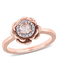 Morganite (1/3 ct. t.w.) and Diamond (1/10 ct. t.w.) Flower Halo Ring in 10k Rose Gold