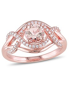 Morganite (4/5 ct. t.w.) and Diamond (1/5 ct. t.w.) Halo Crossover Ring in 18k Rose Gold Over Silver