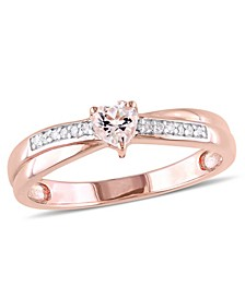Morganite (1/4 ct.t.w) and Diamond (1/20 ct. t.w.) Heart Ring in 18k Rose Gold Over Silver