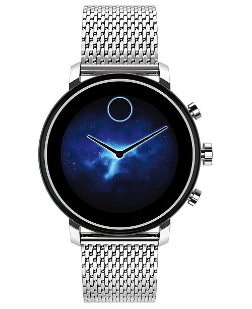Movado Connect 2.0 Stainless Steel Mesh Bracelet Touchscreen Smart Watch 42mm
