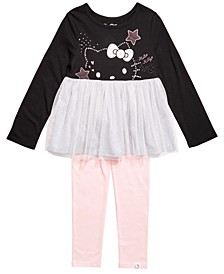 Toddler Girls 2-Pc. Colorblocked Mesh Tutu Tunic & Leggings Set