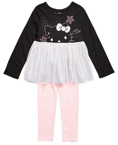 Hello Kitty Toddler Girls 2-Pc. Colorblocked Mesh Tutu Tunic & Leggings Set