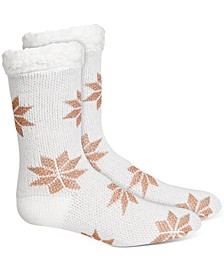 Women's Snowflake Slipper Socks With Faux-Sherpa Lining, Created For Macy's