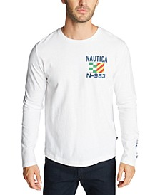 Men's Long Sleeve Boat and Flag Tee Shirt