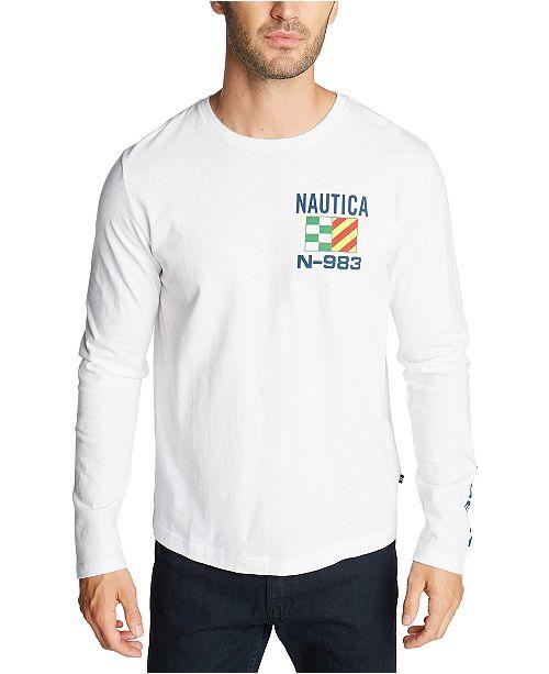 Nautica Men's Long Sleeve Boat and Flag Tee Shirt