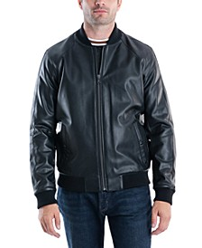 Men's Sutton Faux Leather Bomber Jacket, Created For Macy's