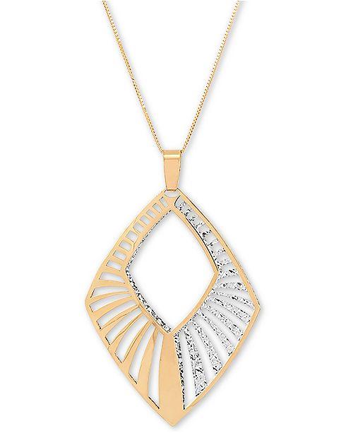 "Italian Gold Openwork Geometric 18"" Pendant Necklace in 14k Gold & White Gold"