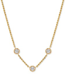 """Diamond Accent Station 18"""" Statement Necklace in 10k Gold"""