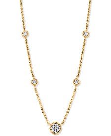"""Diamond Station 18"""" Statement Necklace (1/20 ct. t.w.) in 10k Gold"""