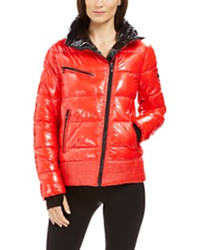 Michael Michael Kors High-Shine Asymmetrical Puffer Coat