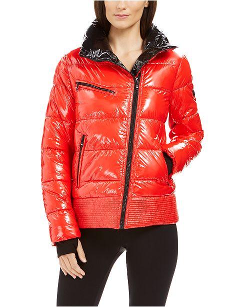 High Shine Asymmetrical Puffer Coat