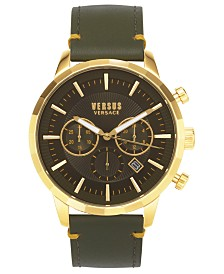 Versus by Versace Men's Chronograph Eugene Green Leather Strap Watch 46mm