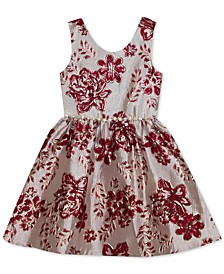 Little Girls Floral Brocade Dress
