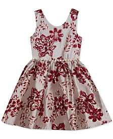 Rare Editions Little Girls Floral Brocade Dress